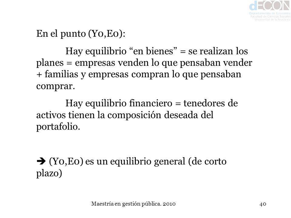Maestría en gestión pública. 201040 En el punto (Y0,E0): Hay equilibrio en bienes = se realizan los planes = empresas venden lo que pensaban vender +