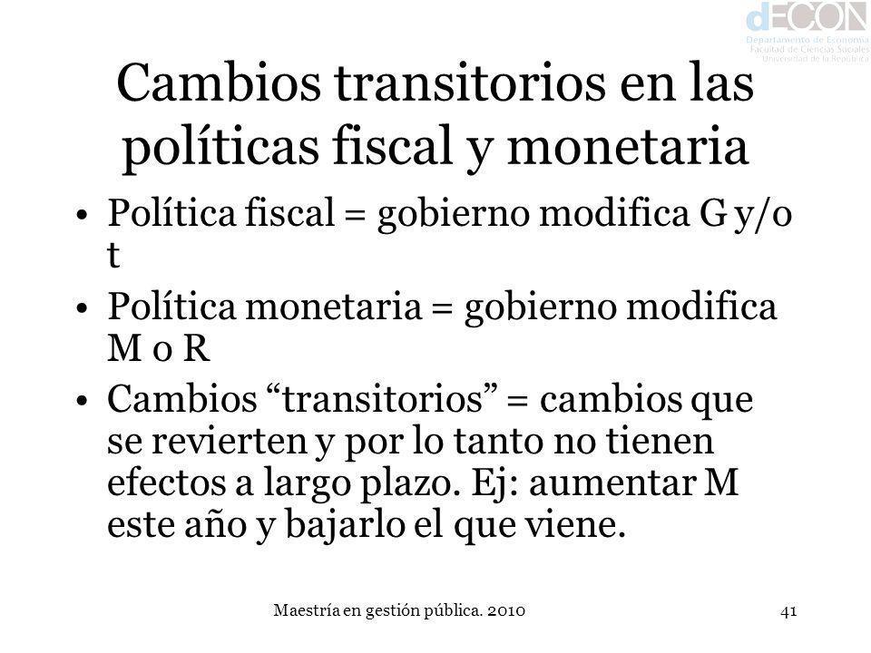 Maestría en gestión pública. 201041 Cambios transitorios en las políticas fiscal y monetaria Política fiscal = gobierno modifica G y/o t Política mone