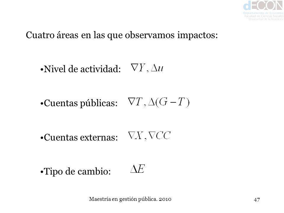 Maestría en gestión pública. 201047 Cuatro áreas en las que observamos impactos: Nivel de actividad: Cuentas públicas: Cuentas externas: Tipo de cambi