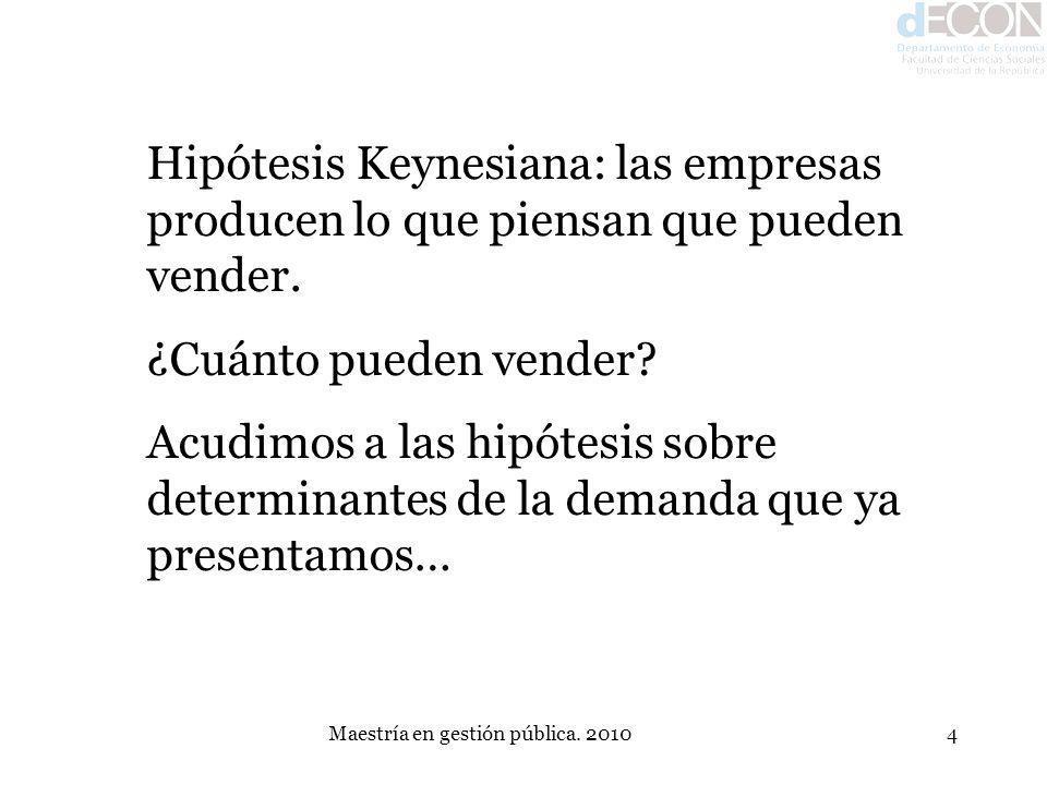 Maestría en gestión pública. 20104 Hipótesis Keynesiana: las empresas producen lo que piensan que pueden vender. ¿Cuánto pueden vender? Acudimos a las