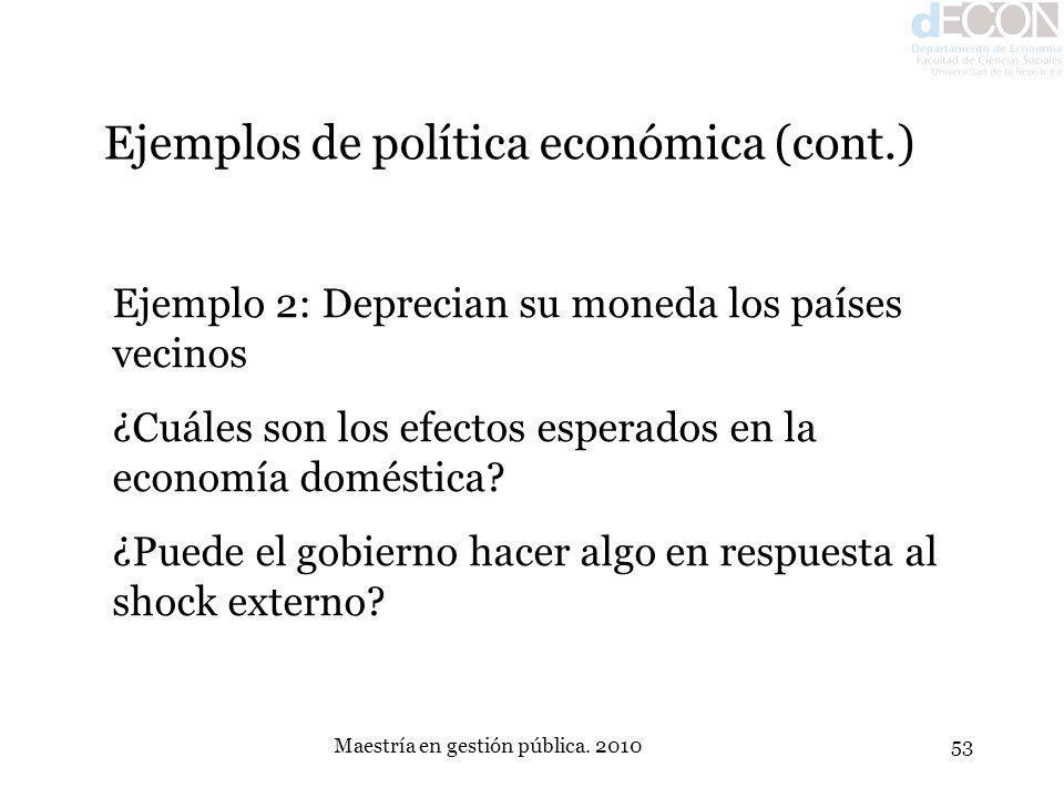 Maestría en gestión pública. 201053 Ejemplos de política económica (cont.) Ejemplo 2: Deprecian su moneda los países vecinos ¿Cuáles son los efectos e