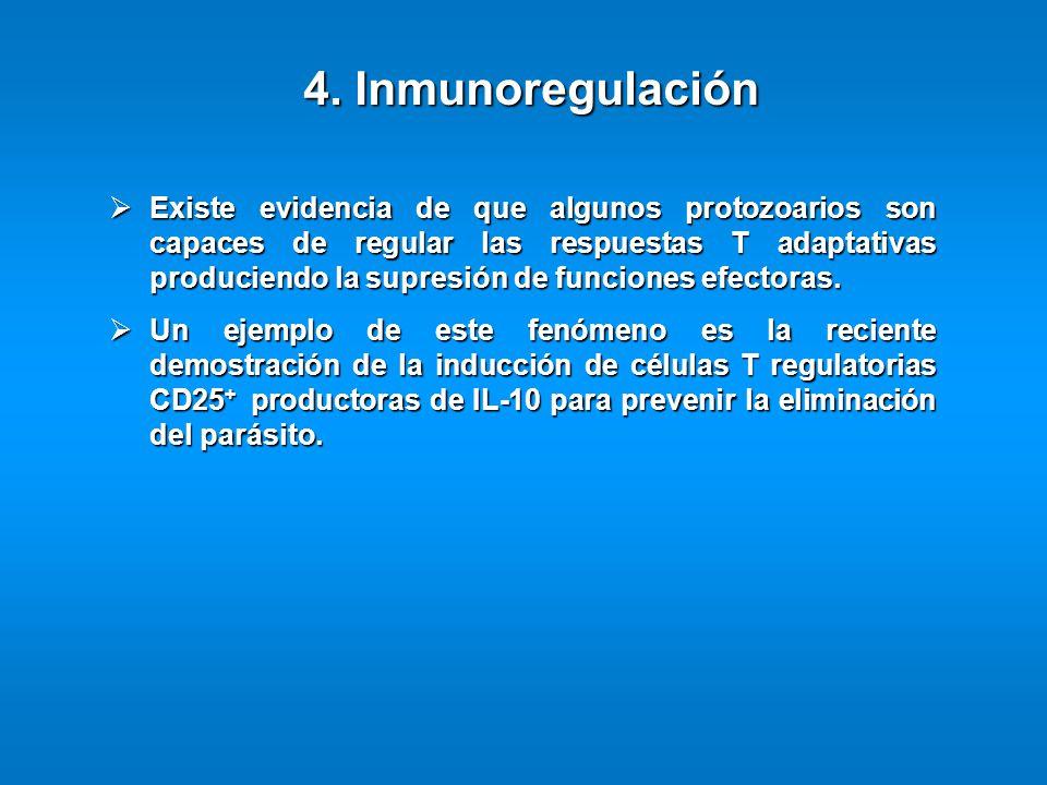 4. Inmunoregulación Existe evidencia de que algunos protozoarios son capaces de regular las respuestas T adaptativas produciendo la supresión de funci