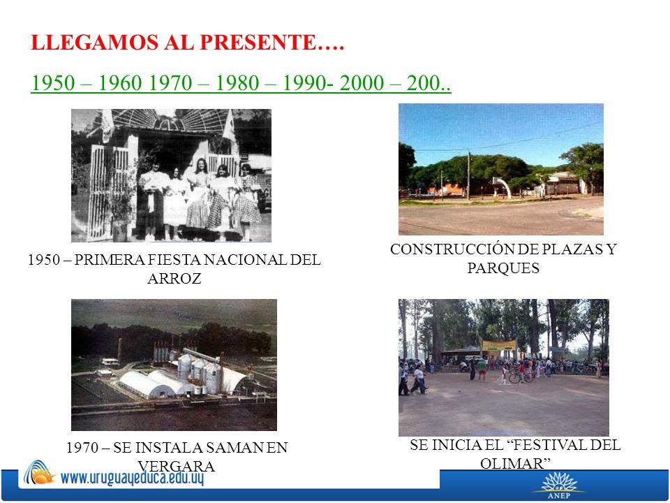 LLEGAMOS AL PRESENTE…. 1950 – 1960 1970 – 1980 – 1990- 2000 – 200.. 1950 – PRIMERA FIESTA NACIONAL DEL ARROZ 1970 – SE INSTALA SAMAN EN VERGARA CONSTR