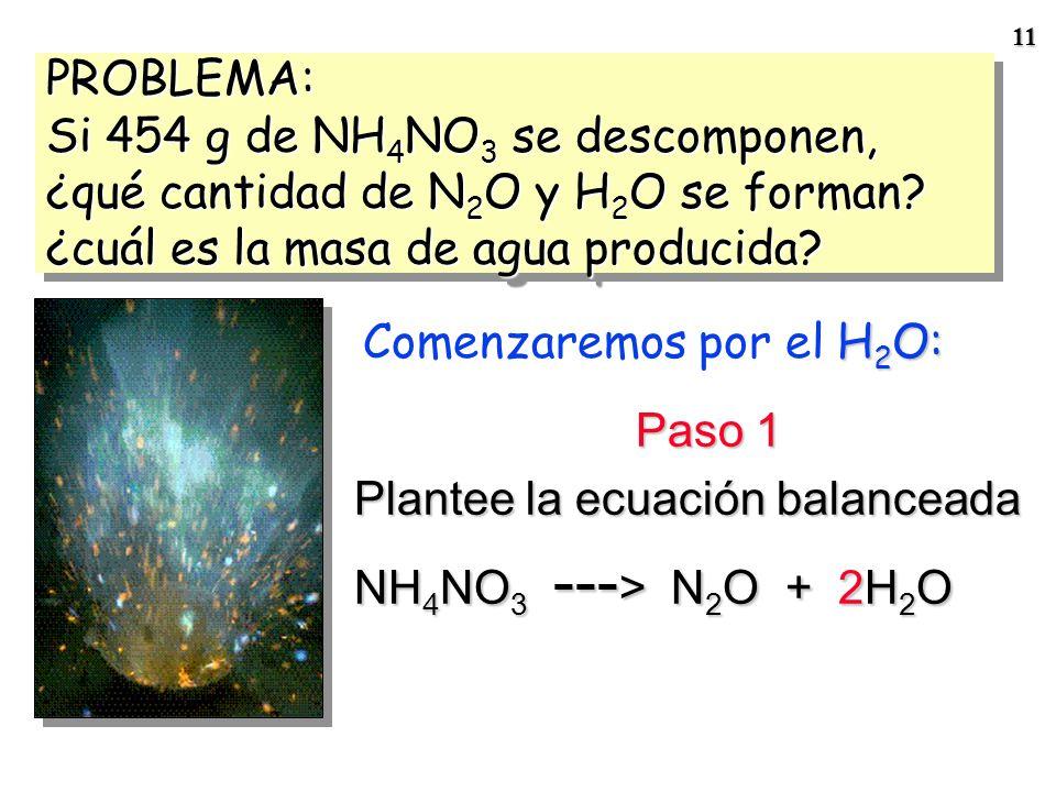 10 EstequiometríaEstequiometría Se basa en la ley de conservación de la masa 2 Al(s) + 3 Br 2 (l) --- > Al 2 Br 6 (s)