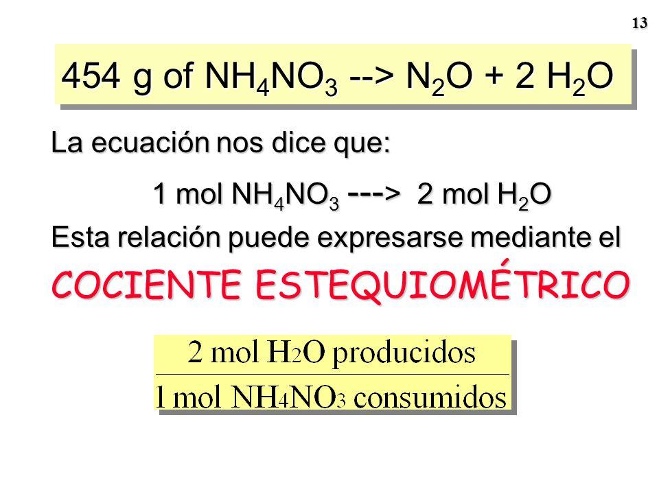 12 454 g de NH 4 NO 3 --- > N 2 O + 2 H 2 O Paso 2 Convierta la masa de reactivo (454 g) a cantidad de reactivo (n) Paso 3 Encuentre la cantidad de pr