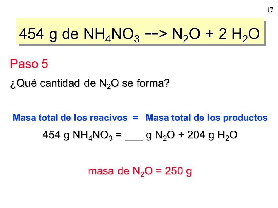 16 Procedimiento general para la realización de cálculos estequiométricos Masa de reactivo Cociente estequiométrico Cantidad de reactivo Cantidad de p