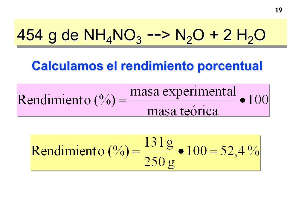 18 454 g de NH 4 NO 3 -- > N 2 O + 2 H 2 O Paso 6 Supongamos que sólo se obtienen 131 g de N 2 O, ¿cuál es el rendimiento del proceso? Éste sirve para