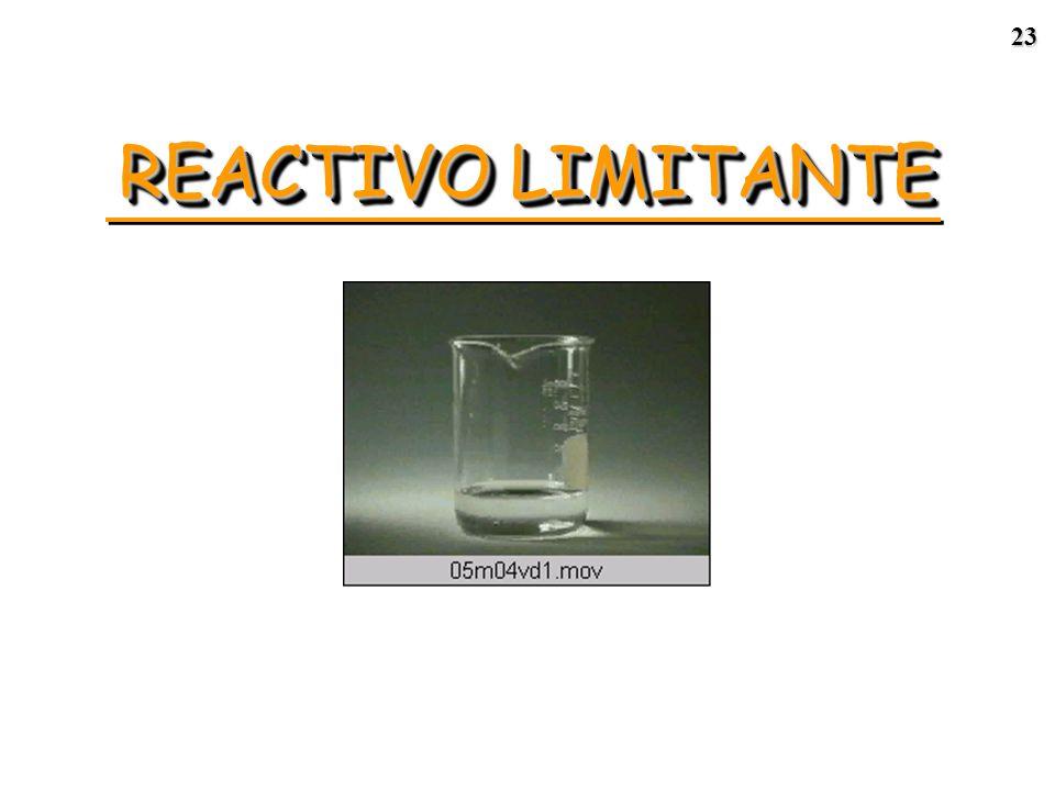 22 REACTIVO LIMITANTE ReactivosProductos 2 NO(g) + O 2 (g) 2 NO 2 (g) Reactivo limitante = ___________ Reactivo en exceso = ___________