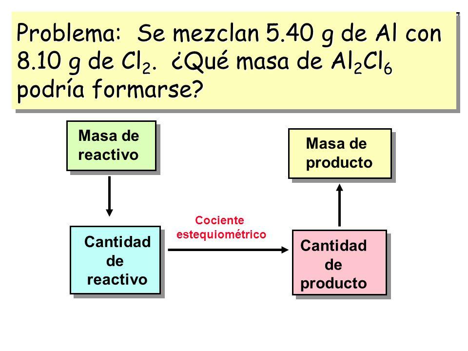 26 Estudiemos la reacción: 2 Al + 3 Cl 2 --- > Al 2 Cl 6