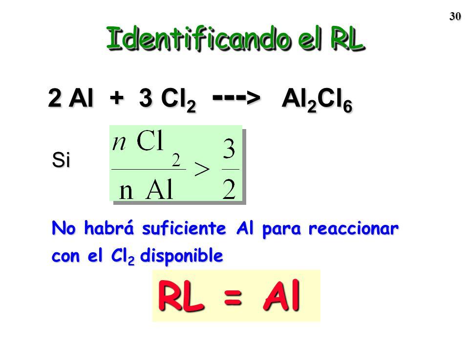 29 2 Al + 3 Cl 2 --- > Al 2 Cl 6 Los reactivos deberían estar en la relación: Paso 1: Compare la relación molar experimental con la relación estequiom