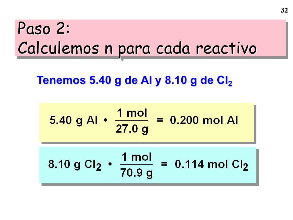 31 Si No habrá suficiente Cl 2 para reaccionar con el Al disponible 2 Al + 3 Cl 2 --- > Al 2 Cl 6 RL = Cl 2 Identificando el RL