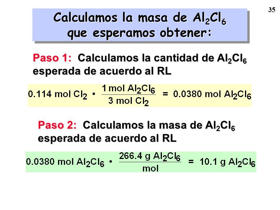34 RL = Cl 2 Todos los cálculos se basarán en el Cl 2 RL = Cl 2 Todos los cálculos se basarán en el Cl 2 n Cl 2 n Al 2 Cl 6 m Cl 2 m Al 2 Cl 6 2 Al +