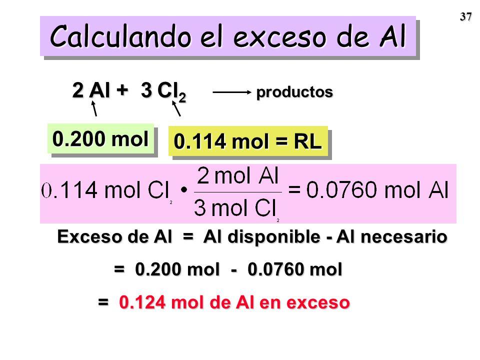 36 Cl 2 es el reactivo limitante.Cl 2 es el reactivo limitante. Por lo tanto, tendremos Al remanente ¿Cuánto?Por lo tanto, tendremos Al remanente ¿Cuá