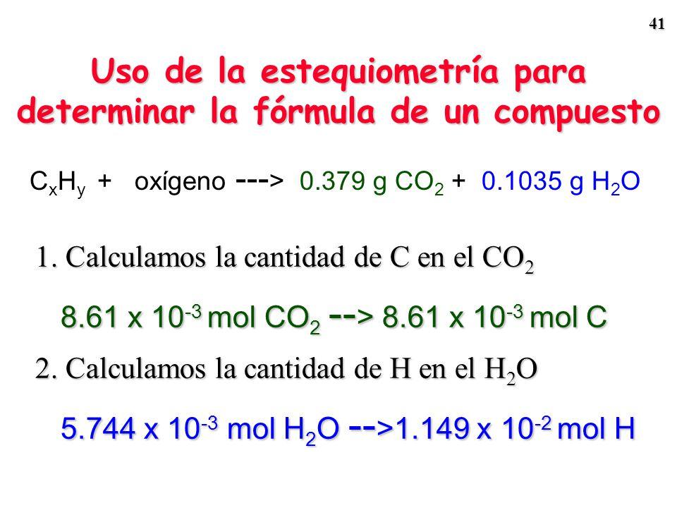 40 Admitamos que todo el C en el CO 2 y todo el H en el H 2 O provienen del C x H y. Muestra de C x H y 0.115 g 0.379 g CO 2 +O 2 0.1035 g H 2 O 1 mol