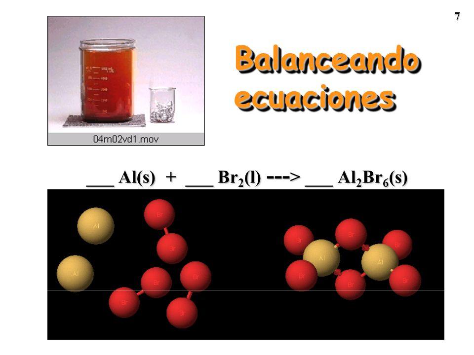 37 2 Al + 3 Cl 2 productos 0.200 mol 0.114 mol = RL Calculando el exceso de Al Exceso de Al = Al disponible - Al necesario = 0.200 mol - 0.0760 mol = 0.124 mol de Al en exceso