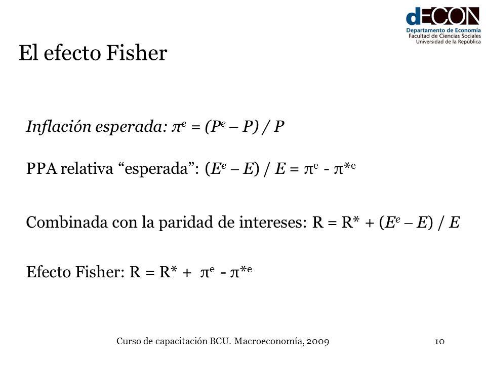 Curso de capacitación BCU. Macroeconomía, 200910 El efecto Fisher Inflación esperada:π e = (P e – P) / P PPA relativa esperada: (E e E) / E = π e - π*