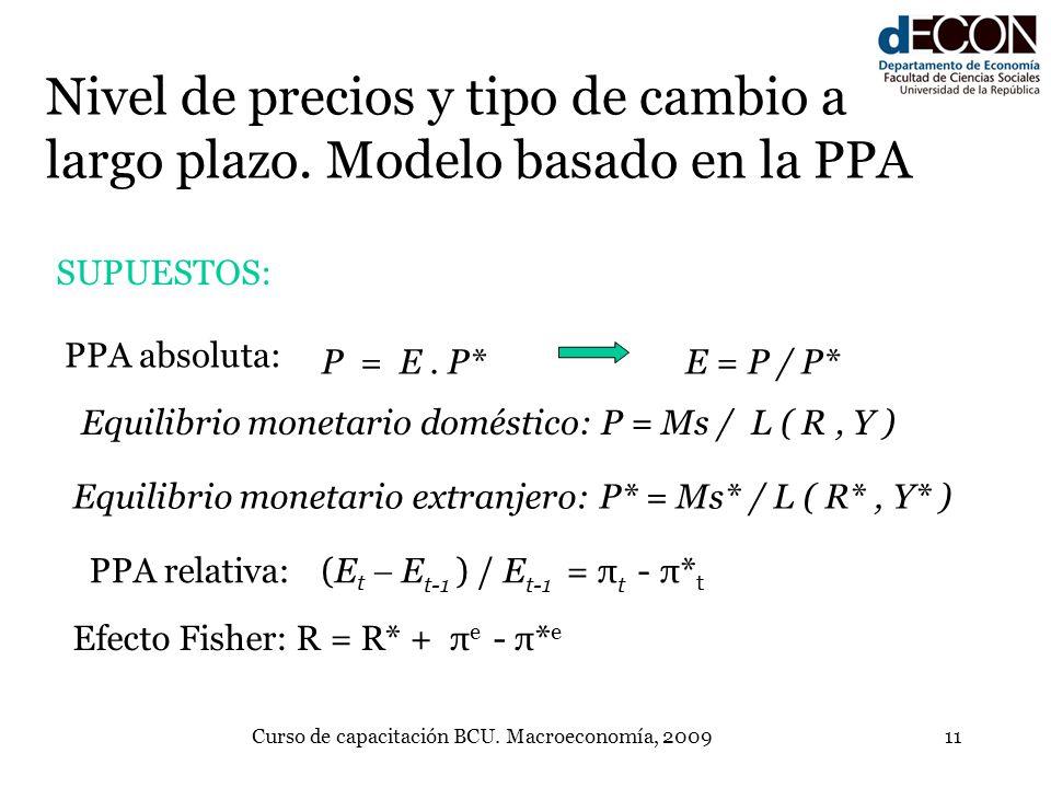 Curso de capacitación BCU. Macroeconomía, 200911 Nivel de precios y tipo de cambio a largo plazo. Modelo basado en la PPA P = E. P*E = P / P* PPA abso