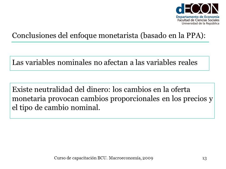 Curso de capacitación BCU. Macroeconomía, 200913 Conclusiones del enfoque monetarista (basado en la PPA): Las variables nominales no afectan a las var