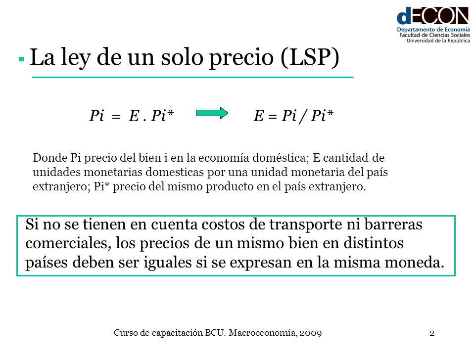 Curso de capacitación BCU. Macroeconomía, 20092 Si no se tienen en cuenta costos de transporte ni barreras comerciales, los precios de un mismo bien e