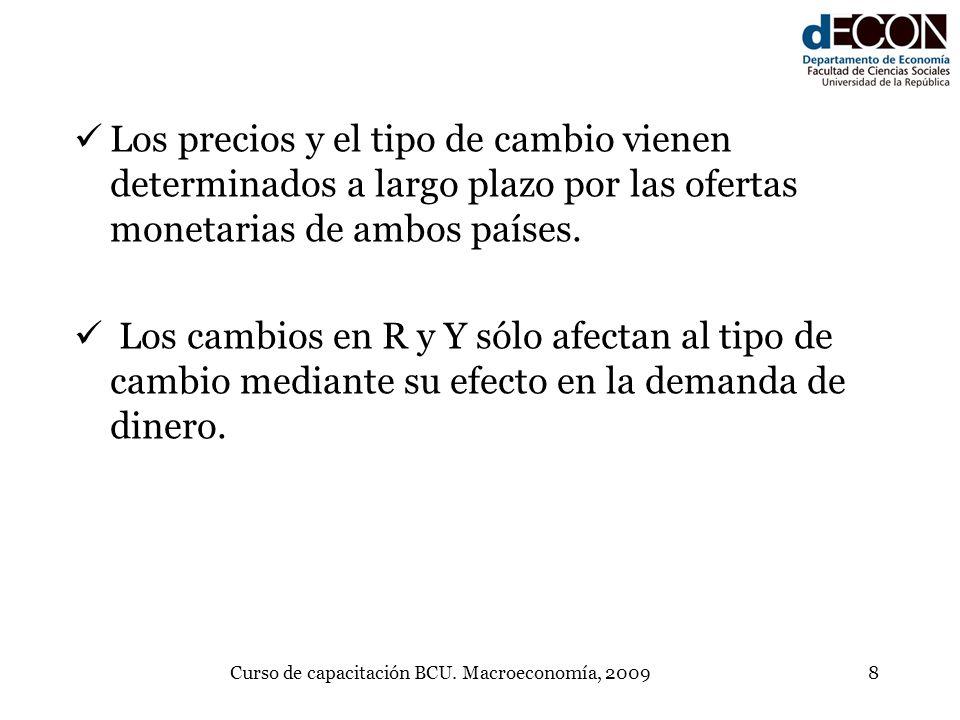 Curso de capacitación BCU. Macroeconomía, 20098 Los precios y el tipo de cambio vienen determinados a largo plazo por las ofertas monetarias de ambos