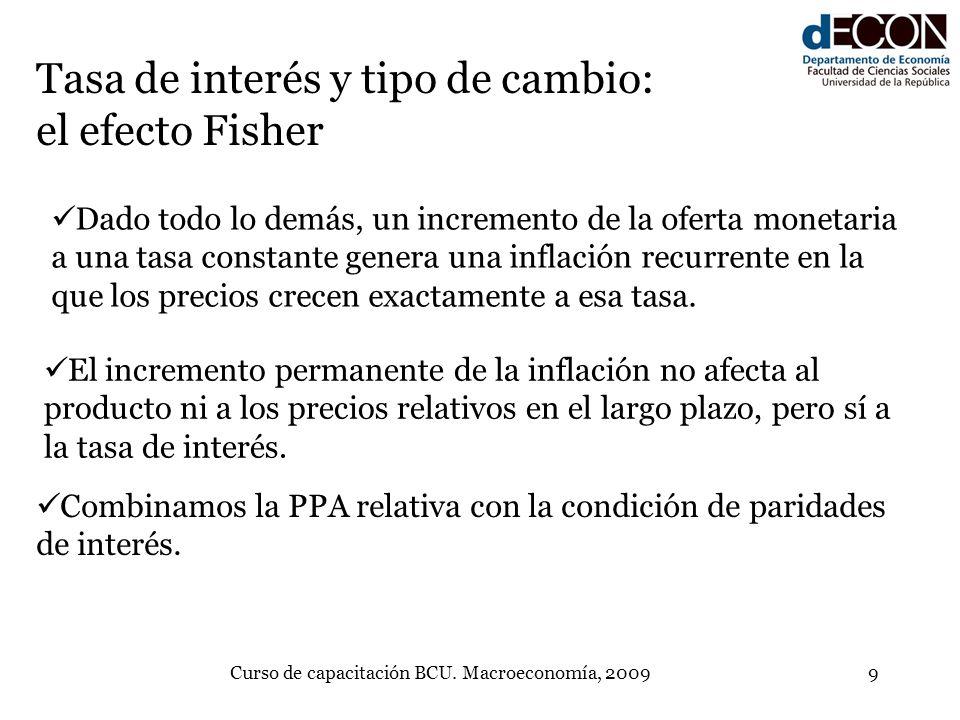 Curso de capacitación BCU. Macroeconomía, 20099 Tasa de interés y tipo de cambio: el efecto Fisher Dado todo lo demás, un incremento de la oferta mone