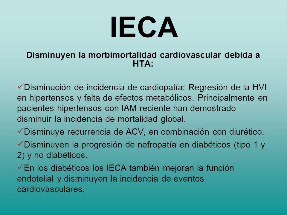 Disminuyen la morbimortalidad cardiovascular debida a HTA: Disminución de incidencia de cardiopatía: Regresión de la HVI en hipertensos y falta de efe