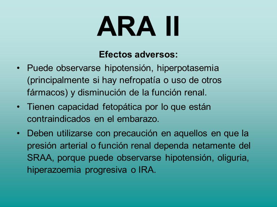 Efectos adversos: Puede observarse hipotensión, hiperpotasemia (principalmente si hay nefropatía o uso de otros fármacos) y disminución de la función