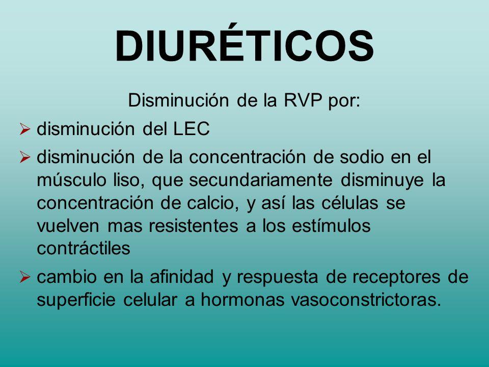 Disminución de la RVP por: disminución del LEC disminución de la concentración de sodio en el músculo liso, que secundariamente disminuye la concentra