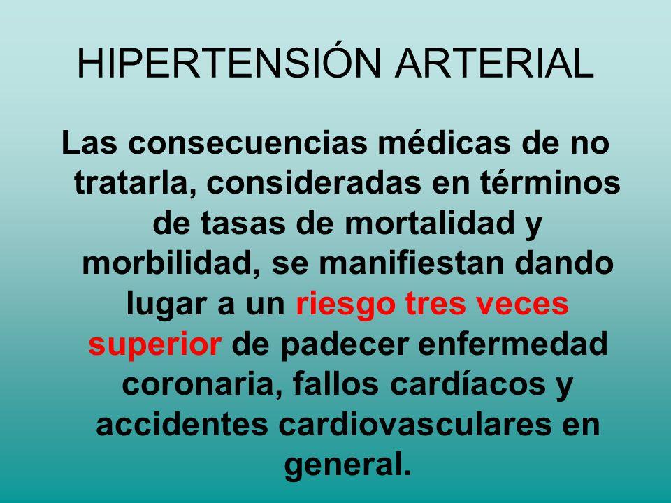 HIPERTENSIÓN ARTERIAL Las consecuencias médicas de no tratarla, consideradas en términos de tasas de mortalidad y morbilidad, se manifiestan dando lug