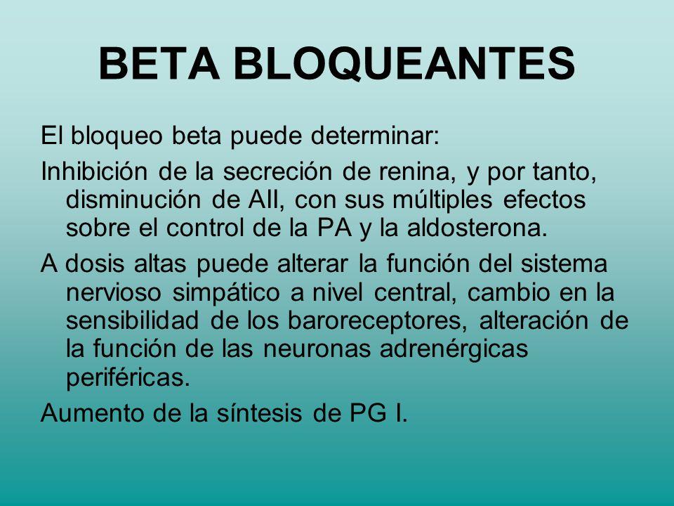 El bloqueo beta puede determinar: Inhibición de la secreción de renina, y por tanto, disminución de AII, con sus múltiples efectos sobre el control de