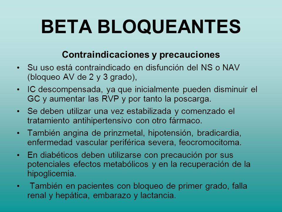 Contraindicaciones y precauciones Su uso está contraindicado en disfunción del NS o NAV (bloqueo AV de 2 y 3 grado), IC descompensada, ya que inicialm