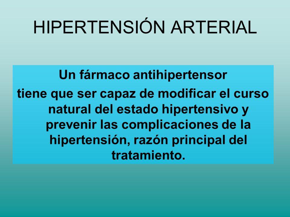 Un fármaco antihipertensor tiene que ser capaz de modificar el curso natural del estado hipertensivo y prevenir las complicaciones de la hipertensión,