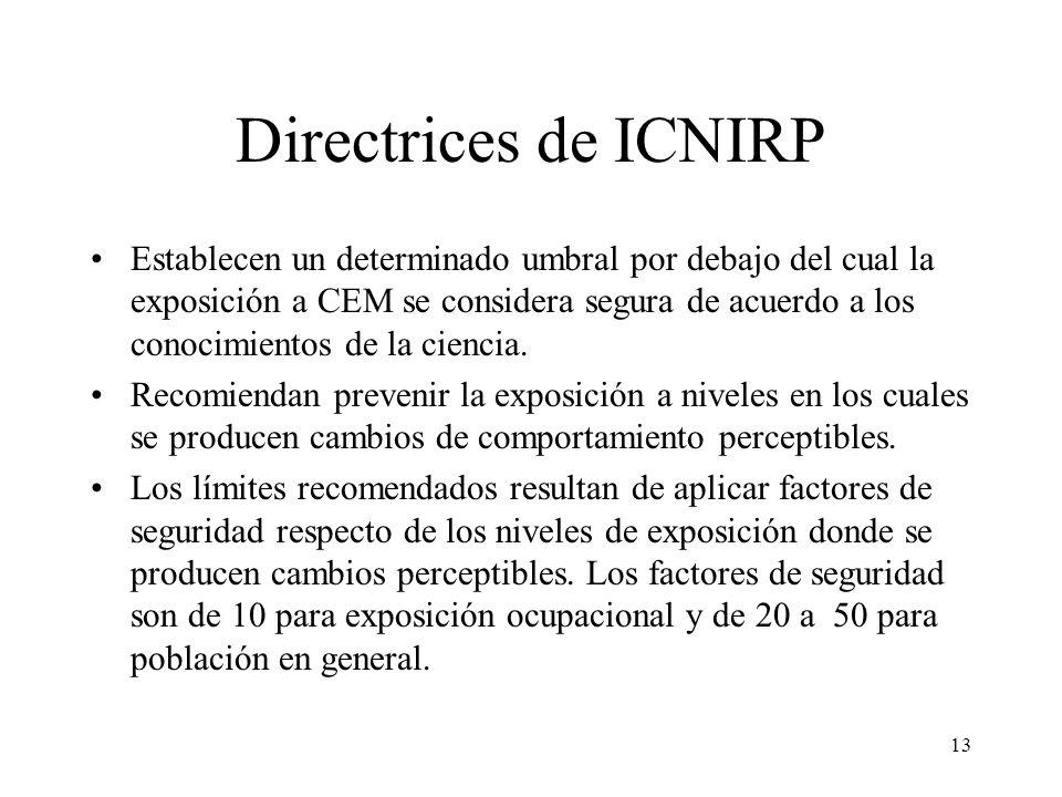 13 Directrices de ICNIRP Establecen un determinado umbral por debajo del cual la exposición a CEM se considera segura de acuerdo a los conocimientos d