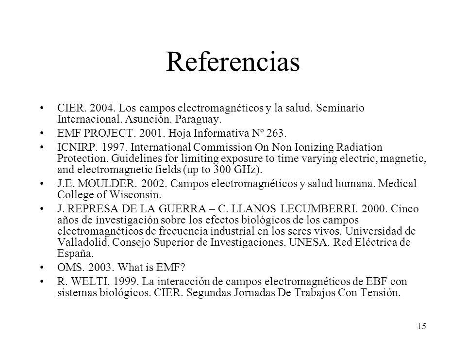 15 Referencias CIER. 2004. Los campos electromagnéticos y la salud. Seminario Internacional. Asunción. Paraguay. EMF PROJECT. 2001. Hoja Informativa N