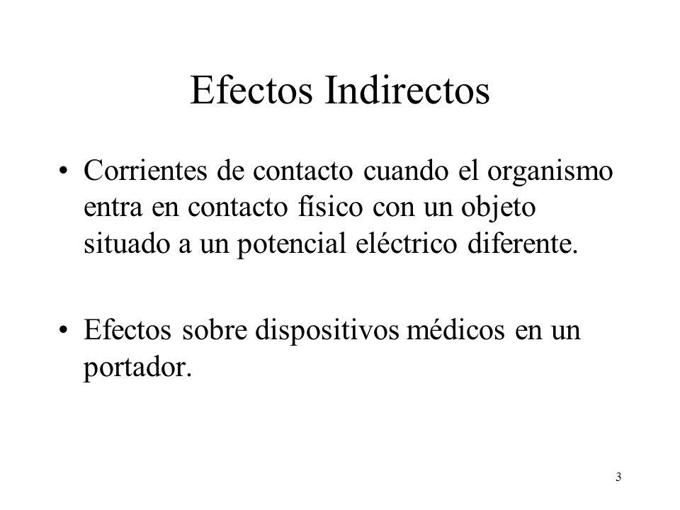 3 Efectos Indirectos Corrientes de contacto cuando el organismo entra en contacto físico con un objeto situado a un potencial eléctrico diferente. Efe