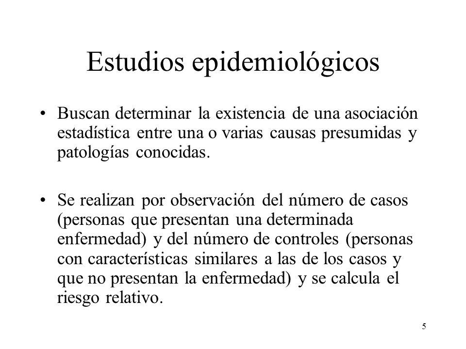 5 Estudios epidemiológicos Buscan determinar la existencia de una asociación estadística entre una o varias causas presumidas y patologías conocidas.