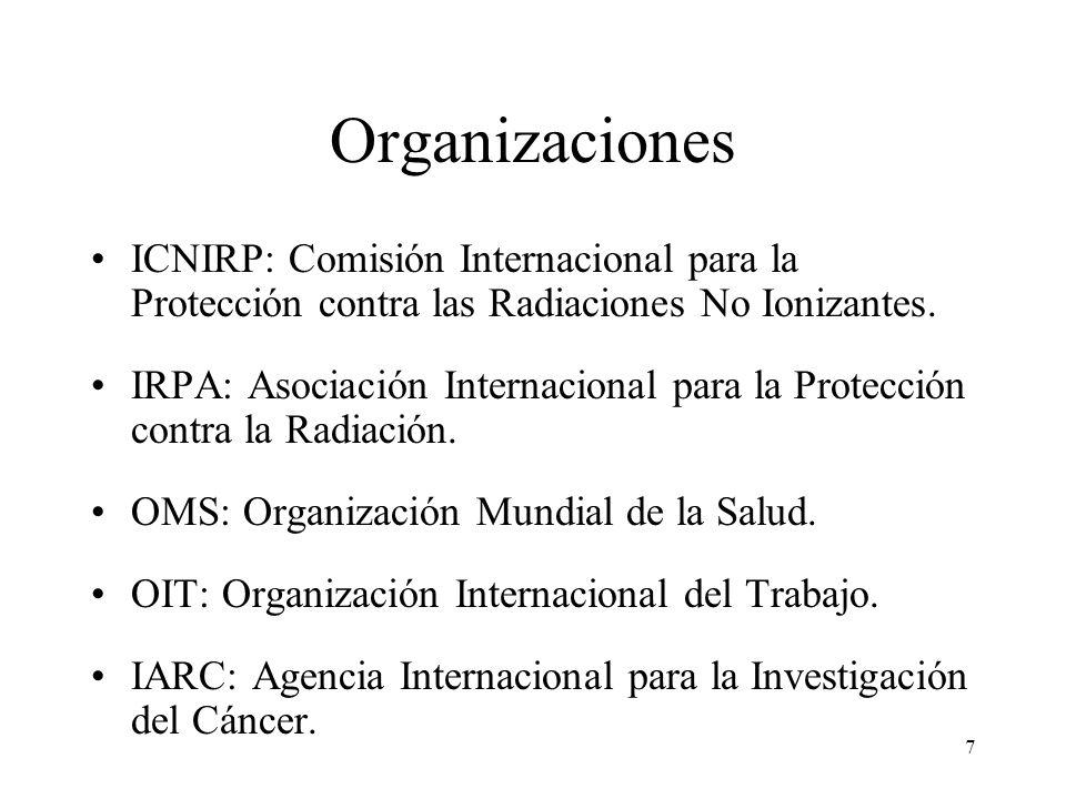 7 Organizaciones ICNIRP: Comisión Internacional para la Protección contra las Radiaciones No Ionizantes. IRPA: Asociación Internacional para la Protec