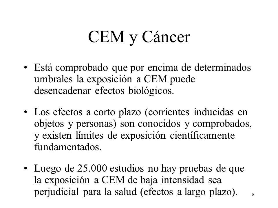 8 CEM y Cáncer Está comprobado que por encima de determinados umbrales la exposición a CEM puede desencadenar efectos biológicos. Los efectos a corto