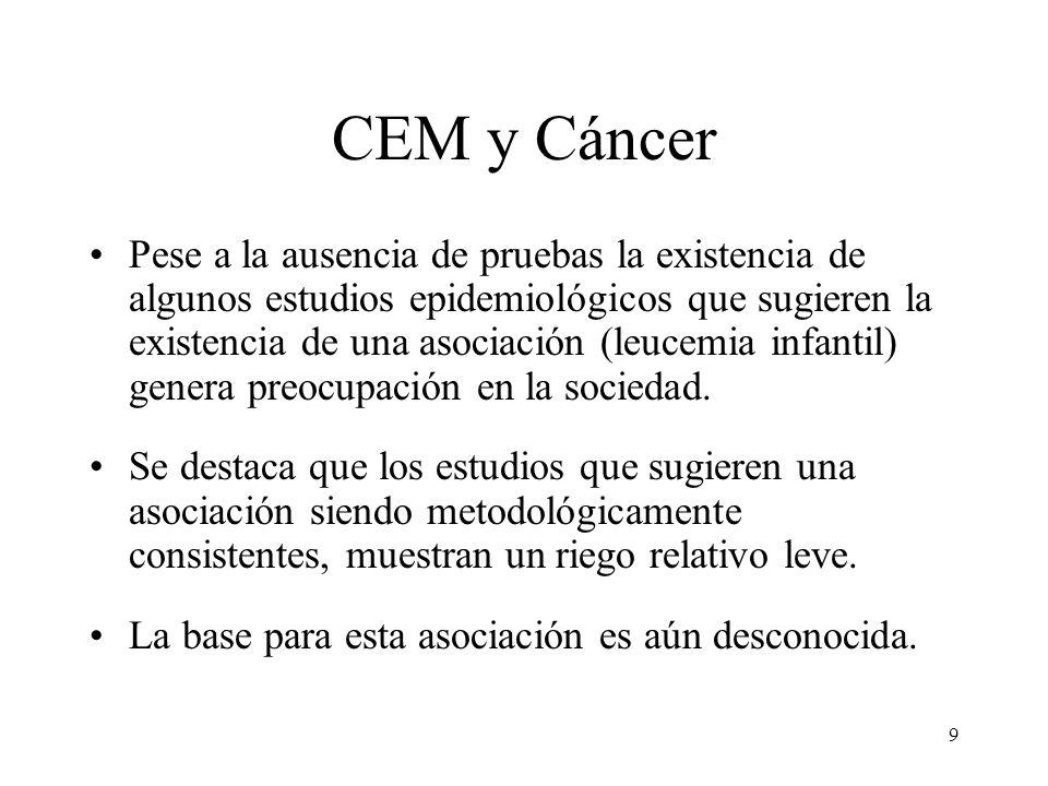 9 CEM y Cáncer Pese a la ausencia de pruebas la existencia de algunos estudios epidemiológicos que sugieren la existencia de una asociación (leucemia