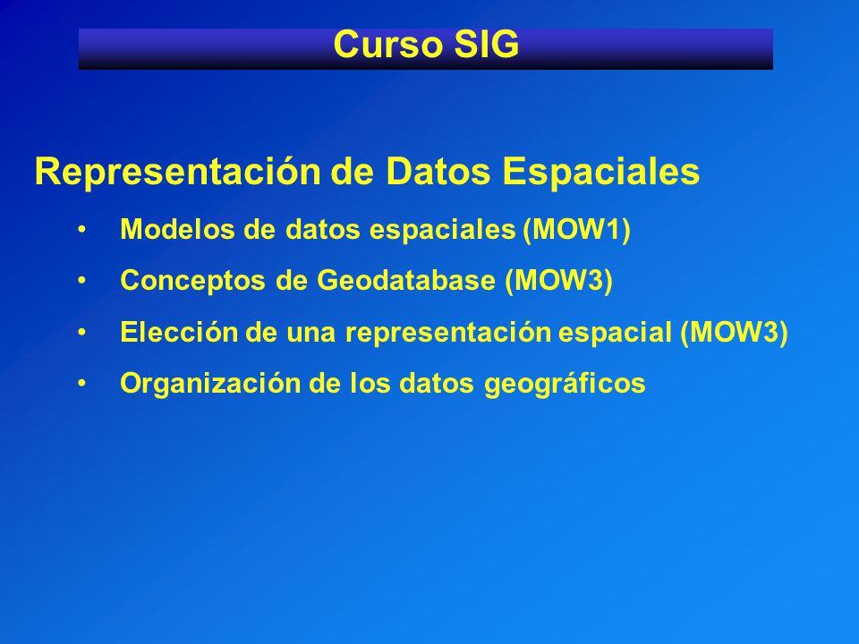Representación de Datos Espaciales Modelos de datos espaciales (MOW1) Conceptos de Geodatabase (MOW3) Elección de una representación espacial (MOW3) O