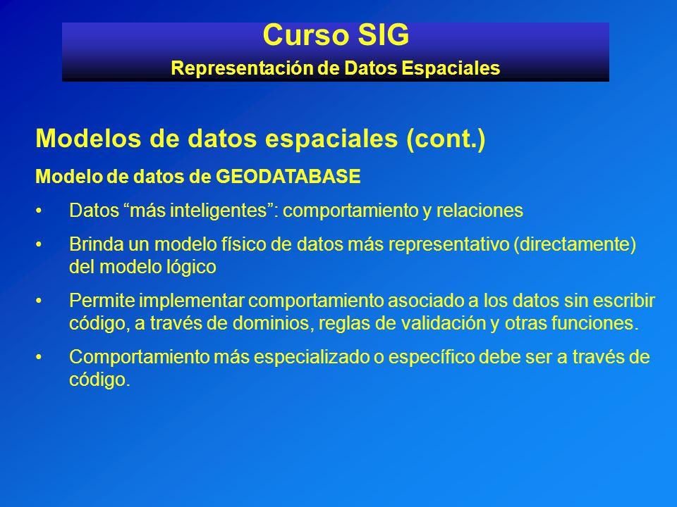 Modelos de datos espaciales (cont.) Modelo de datos de GEODATABASE Datos más inteligentes: comportamiento y relaciones Brinda un modelo físico de dato