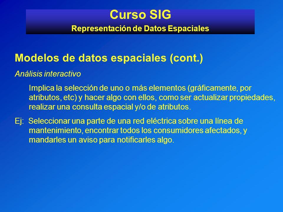 Modelos de datos espaciales (cont.) Análisis interactivo Implica la selección de uno o más elementos (gráficamente, por atributos, etc) y hacer algo c