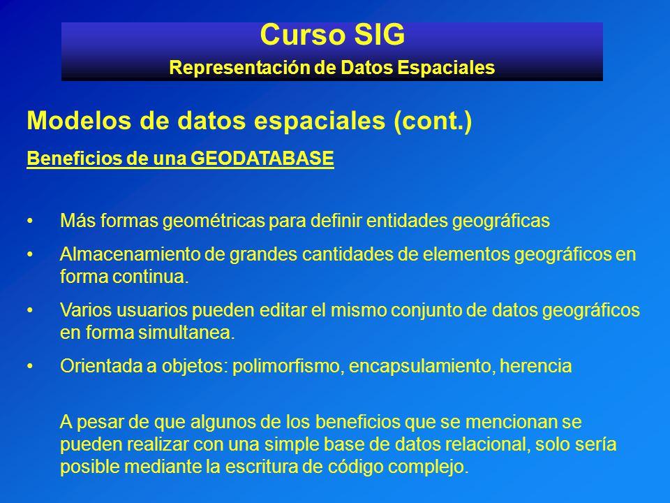 Modelos de datos espaciales (cont.) Beneficios de una GEODATABASE Más formas geométricas para definir entidades geográficas Almacenamiento de grandes