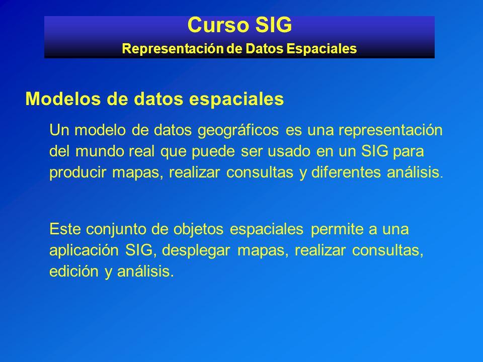 Modelos de datos espaciales Un modelo de datos geográficos es una representación del mundo real que puede ser usado en un SIG para producir mapas, rea