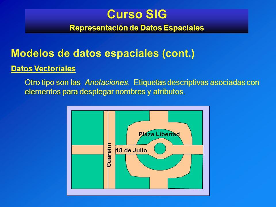 Modelos de datos espaciales (cont.) Datos Vectoriales Otro tipo son las Anotaciones. Etiquetas descriptivas asociadas con elementos para desplegar nom