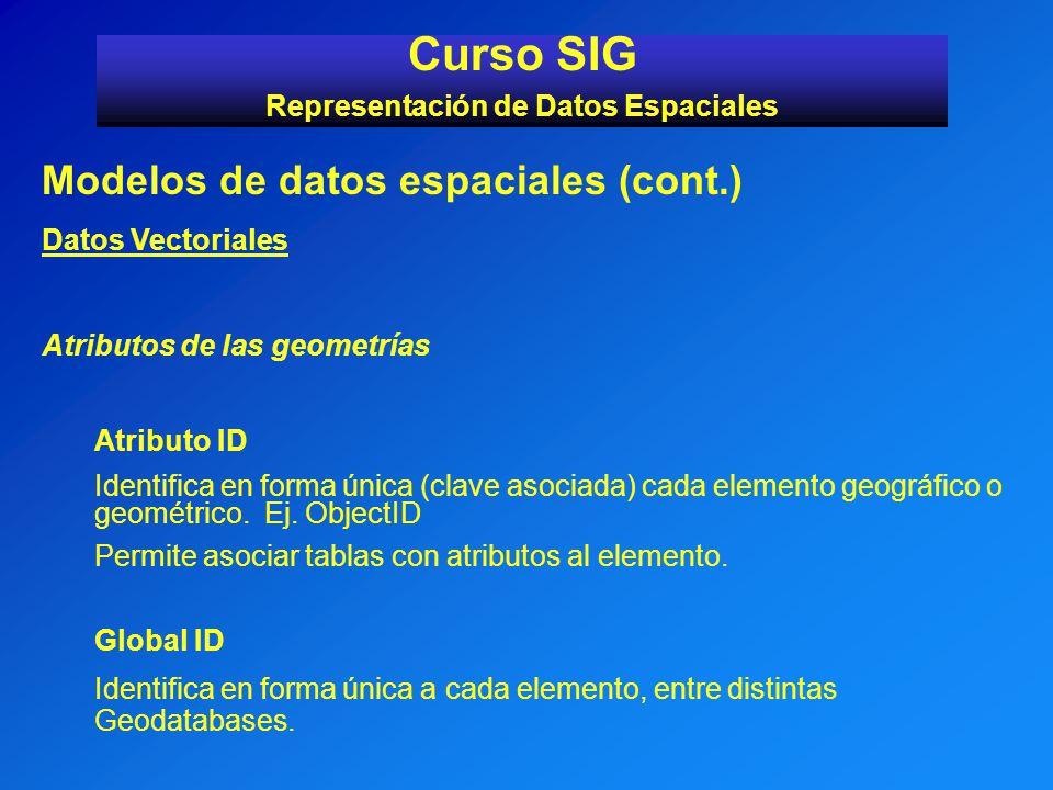 Modelos de datos espaciales (cont.) Datos Vectoriales Atributos de las geometrías Atributo ID Identifica en forma única (clave asociada) cada elemento