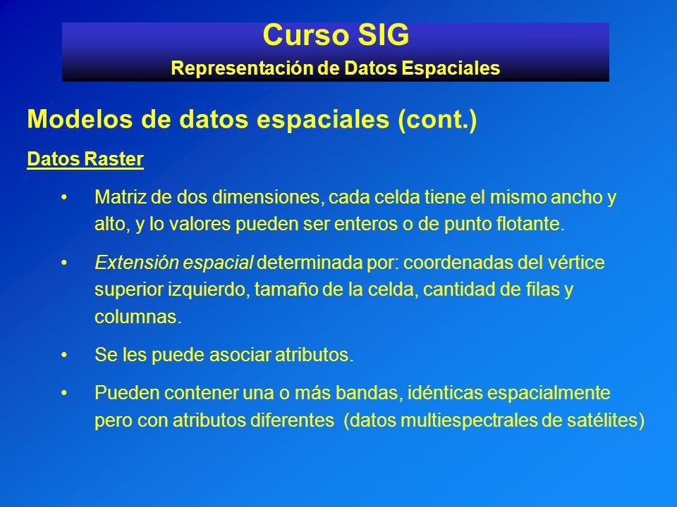 Modelos de datos espaciales (cont.) Datos Raster Matriz de dos dimensiones, cada celda tiene el mismo ancho y alto, y lo valores pueden ser enteros o