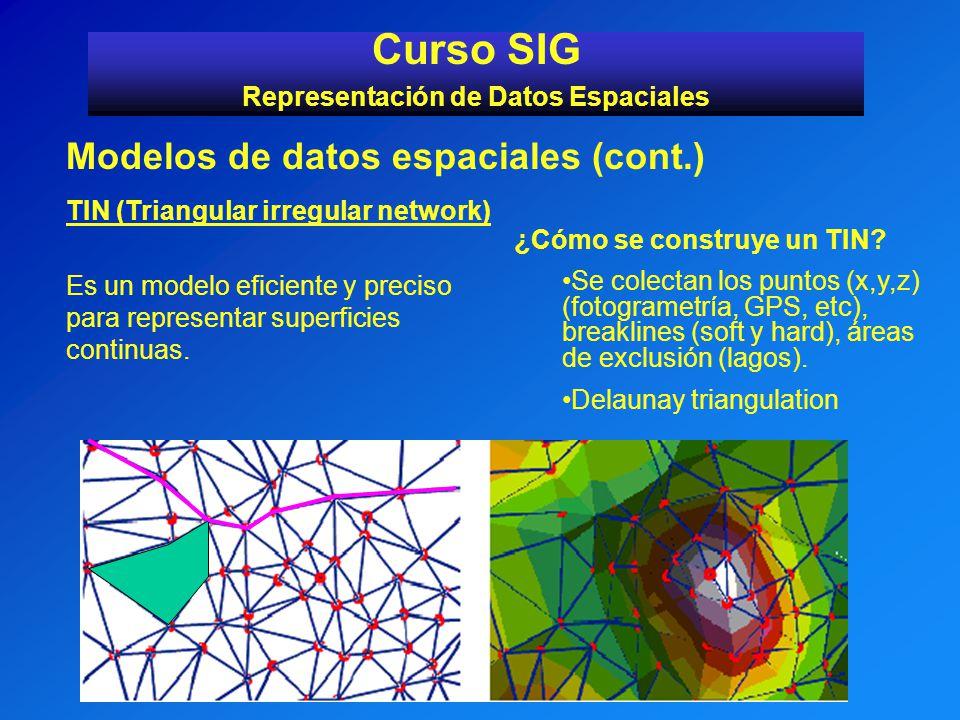 Es un modelo eficiente y preciso para representar superficies continuas. Curso SIG Representación de Datos Espaciales Modelos de datos espaciales (con
