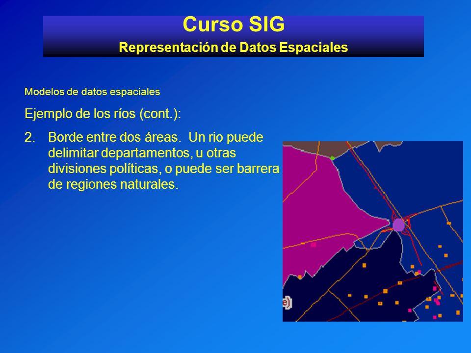Modelos de datos espaciales Ejemplo de los ríos (cont.): 2.Borde entre dos áreas. Un rio puede delimitar departamentos, u otras divisiones políticas,