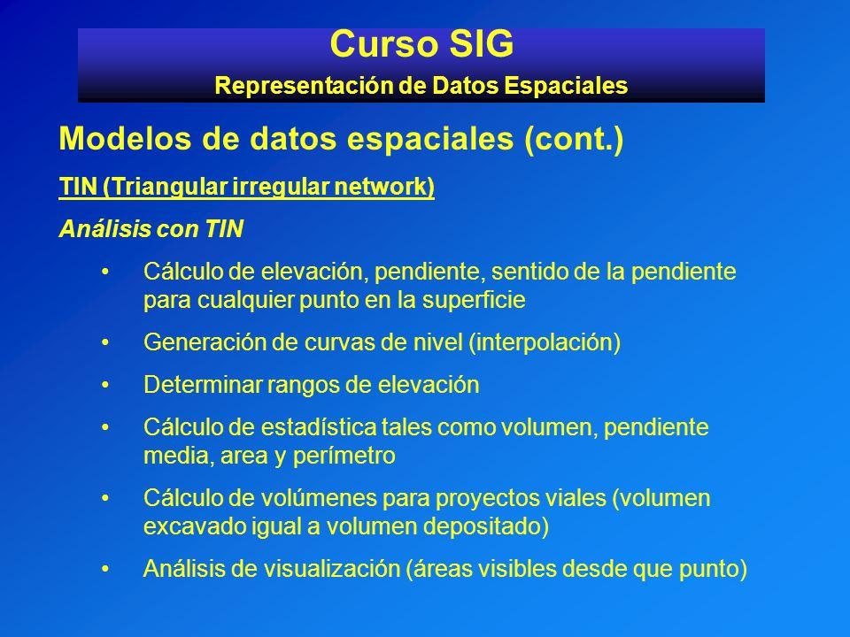 Curso SIG Representación de Datos Espaciales Modelos de datos espaciales (cont.) TIN (Triangular irregular network) Análisis con TIN Cálculo de elevac